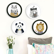 Buy Nordic DIY Round Photo Frame Canvas Painting Animal Lion Bear Panda Art Prints Poster Wall Picture Kids Room Home Decor for $29.40 in AliExpress store