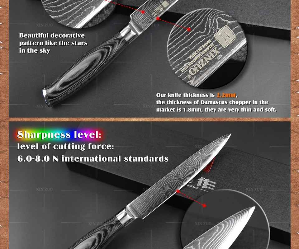 "Buy 5""inch utility knife 73 layer Japan Damascus kitchen knife sharp Multi-purpose cutter knife with Color wood handle free shipping cheap"