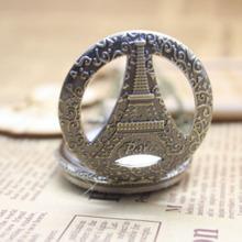 Buy Cindiry Antique Bronze Hollow Eiffel Tower Paris Design Pocket Watch Pendant Necklace Men Women Watches gift P30 for $2.67 in AliExpress store