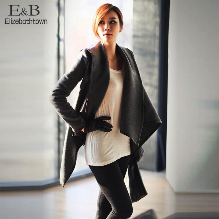 2015 Winter Womens Wool Overcoat Fashion Trench Woolen Coat Gray(China (Mainland))