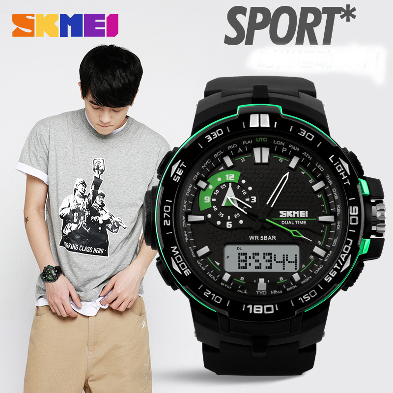 Male Dual Display Mens Watch Outdoor WaterproOf Hiking Sports Table Multifunctional Led Luminous Electronic Wristwatch Gift(China (Mainland))