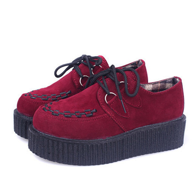 Creepers Platform Shoes Woman Flats Shoes Sapatos Mujer Creepers Shoes Black <br><br>Aliexpress