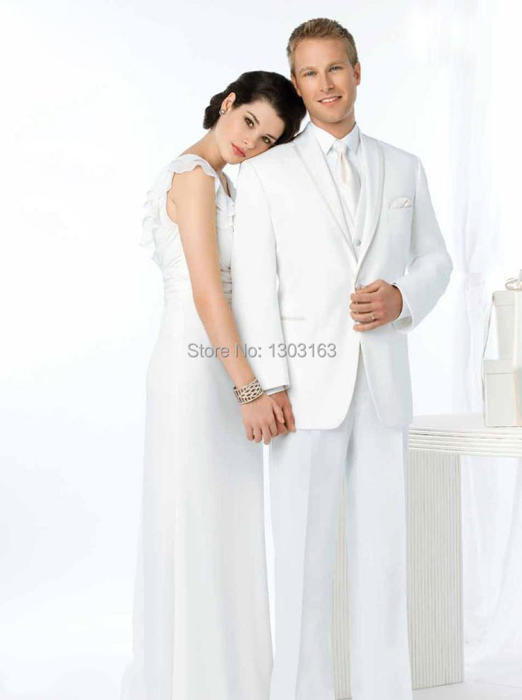 Custom Made Size and Color Groom Tuxedos Two Buttons Best man Groomsman Men Wedding/Prom Suits Bridegroom Jacket+Pants+Tie+Vest