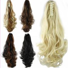 Fashion 58cm Long Women Synthetic Hair Ponytails Peruvian Brazilian Body Wave Curly Hair Bulk Clip Tail Horse