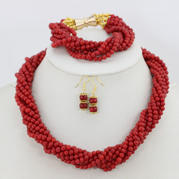 Indian Bridal Jewelry Set Strands African Coral Beads Jewelry Set Free Shipping CJ004
