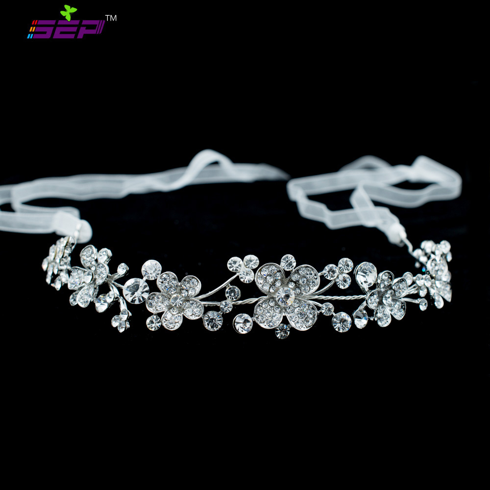 New Flower Rhinestone Crystals Headband Chain Ribbon Women Headpiece Bridal Wedding Hair Jewelry Accessories GX012(China (Mainland))
