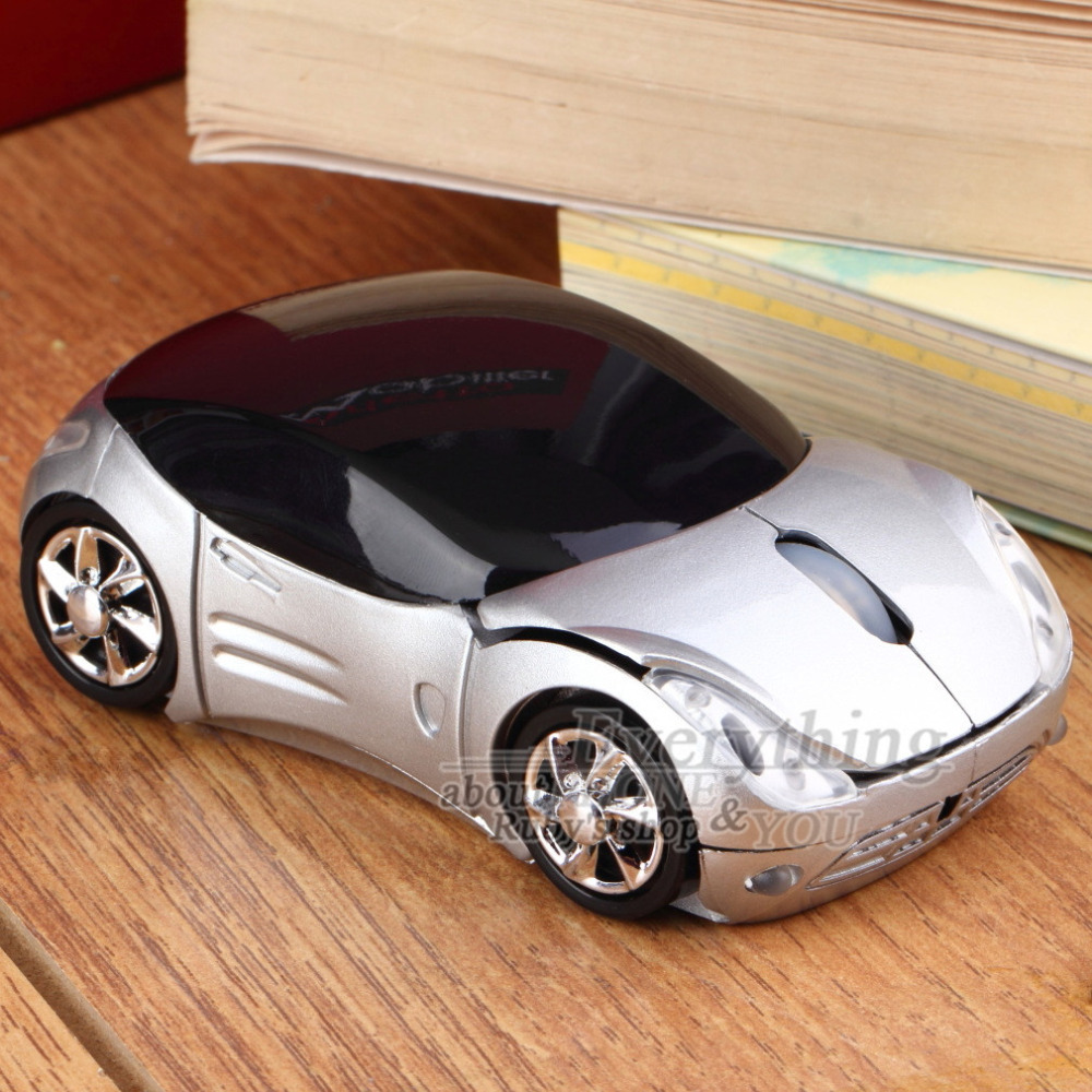 1000DPI Silver Car Wireless Optical Mouse +USB receiver Hot Selling(China (Mainland))