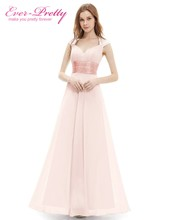 Peachy Pink Long Bridesmaid Dresses A Line One Shoulder Under $50 Ever Pretty EP09816PK Wedding Guest Dress for Bridemaid Part(China)