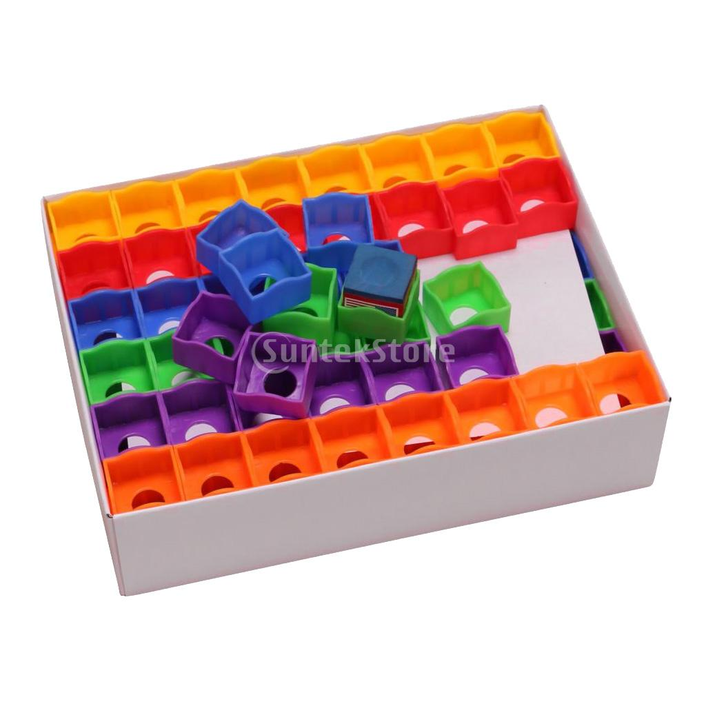 Portable 144 Pieces/Box Multicolored Billiards Snooker Pool Cue Tip Chalk Holders Cases for Billiards Player Club Pool Bar