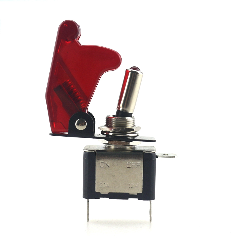 Гаджет  1pc  Red Car Auto Cover LED SPST Toggle Switch Red 12V 20A Control On/Off Switch 1.4 x 6.5cm  None Электротехническое оборудование и материалы