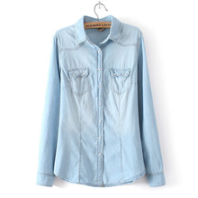 Plus Size Denim Shirt Women Clothing Vintage Jeans Shirt Womens Jeans Blusas Long Sleeve Casual Blouse Cowboy Shirt Spring(China (Mainland))