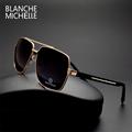 High quality Square Sunglasses Men Polarized UV400 Fashion Coating Mirror Sport sun glasses Oversized Driving Gold