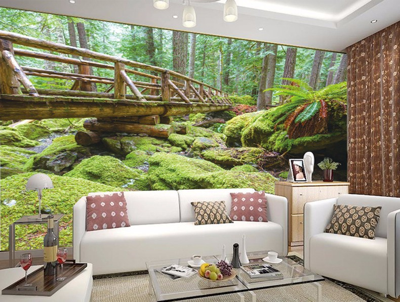 3d wallpaper mural wood bridge forest scenery wall paper for Custom size wall mural