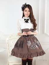 Steampunk Style High Waist Brown Gear Printed Striped A Line Lolita Skirt with Ruffles