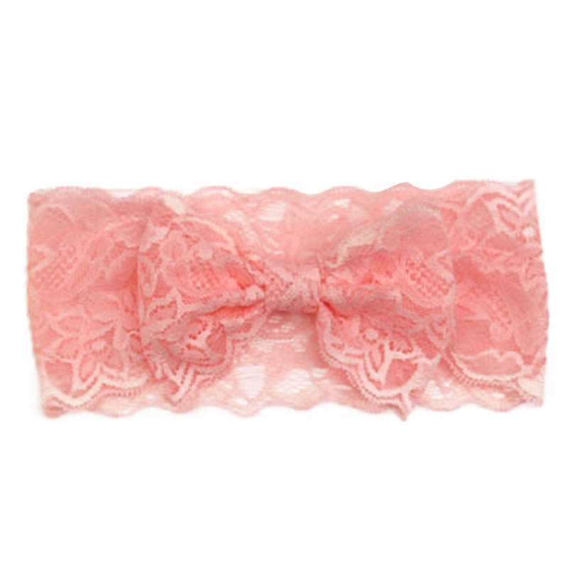 Durable Hot!!! 2015 New Fashion Girls Lace Big Bow Headbands Baby Head Wrap Accessories Fast Shipping(Random Color)(China (Mainland))