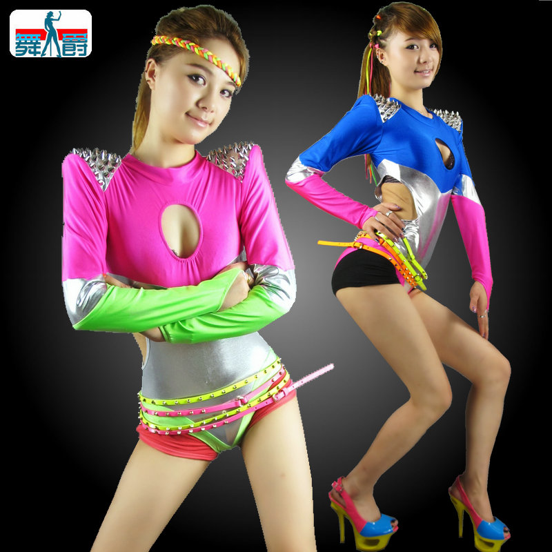 New Fashion Hip Hop Dance Costumes Performance Wear European Neon Candy Color Patchwork Jazz ...