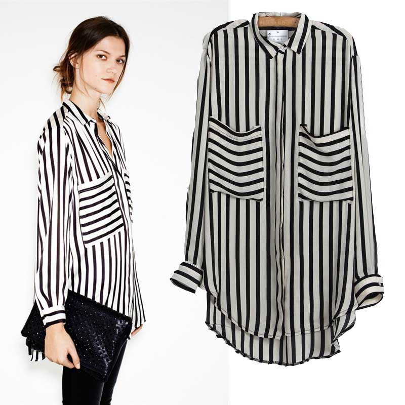 Office ladies black and white stripe long sleeve casual for Black and white striped long sleeve shirt women