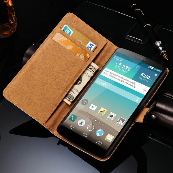 Luxury Real Leather Case For LG Optimus G3 D850 D855 Phone Back Cover Stand Book Style With 3 Card Holder Black(China (Mainland))