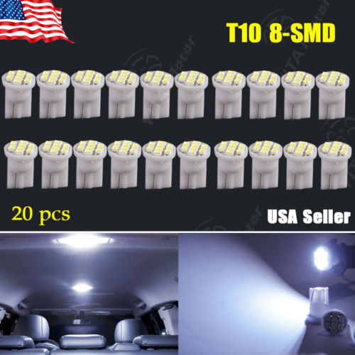 20pcs/lot Car t10 led Cool White Car-styling W5W 194 8-SMD Side Wedge License Interior LED Light Lamps for Cars Super Discount(China (Mainland))