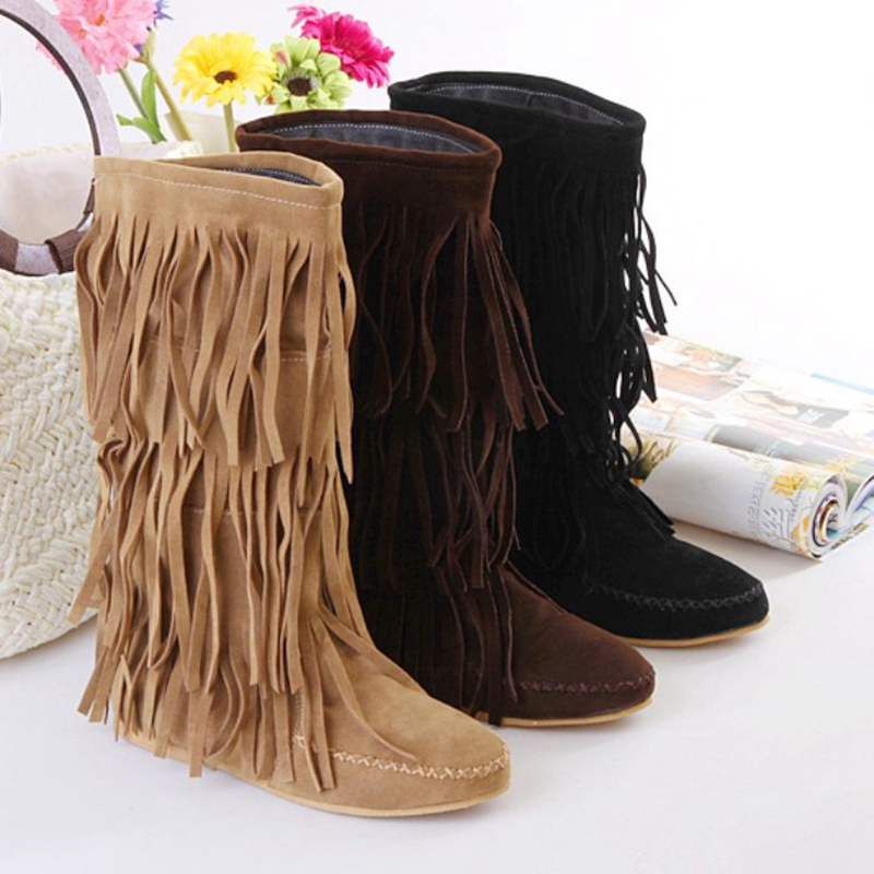 Factory sales Women's 3 Layer Fringe Tassels Flat Heel Boots Decoration Mid-Calf Slouch Shoes Big size 34-43 Free shipping(China (Mainland))