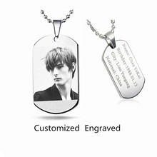 Ocean Customized Engraved letter photo printed Military Army Dog Tags for Men personalized Pendant Necklace Jewelry Accessories(China (Mainland))