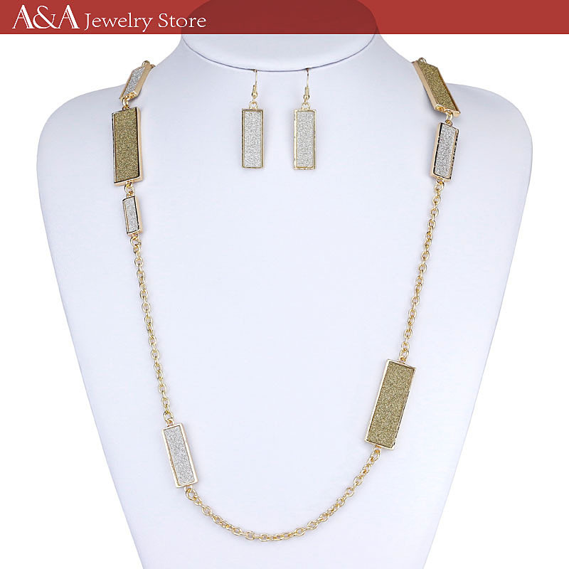 Elegant Necklaces Silver/Gold Chain Necklaces For Women Rectangle Parts On Chains Long Necklaces Brand A&A Jewelry(China (Mainland))
