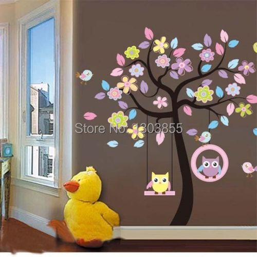 Lovely Owls Swing On Large Tree Playing Art Wall Decal Sticker Marul Kids Decor(China (Mainland))