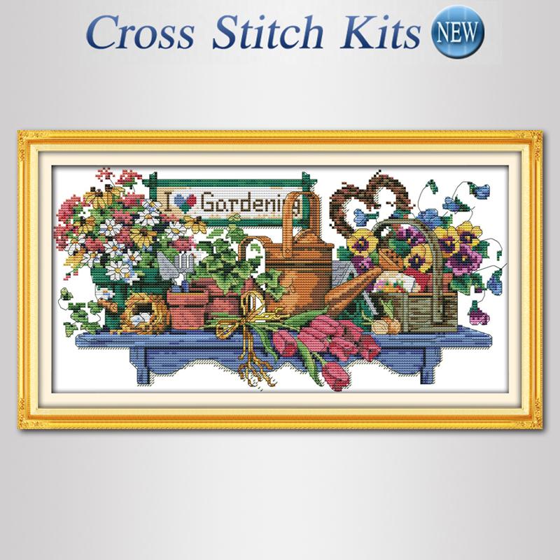 I love gardening,cross-stitch,cross stitch set,diy,embroidery,counted cross stitch,printed,kit,flower,patterns,needlework,free(China (Mainland))
