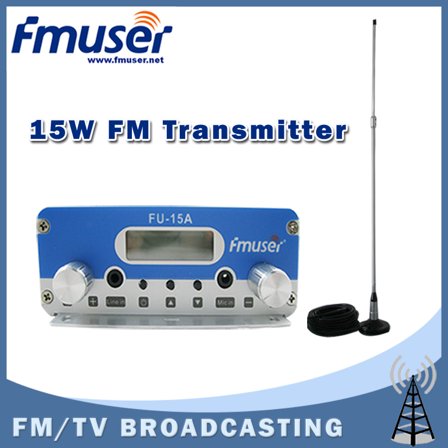 Free shipping FMUSER FU-15A FM radio transmitter for broadcasting with CA100 Car Sucker FM Antenna Kit(China (Mainland))