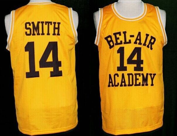 #14 WILL SMITH BEL-AIR Academy basketball Jerseys,yellow Retro Throwback Stitched Personalized Custom Jersey(China (Mainland))