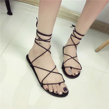 2016 celebrity brand new designer Faux Leather Strappy Roman Goth Gladiator Thong Lace Up Sandals Flat Shoes(China (Mainland))