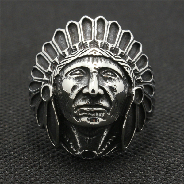 316L Stainless Steel Cool Native American Indian Tribe Siver Cool Ring(China (Mainland))