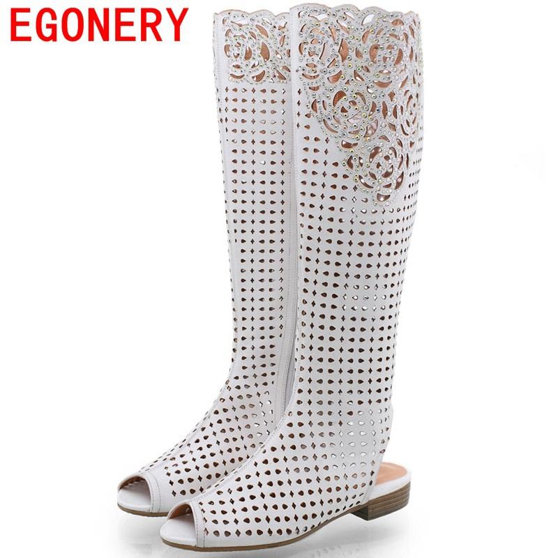 Big Size Vintage Carved Summer Women Knee High Boots Open Toe Heels