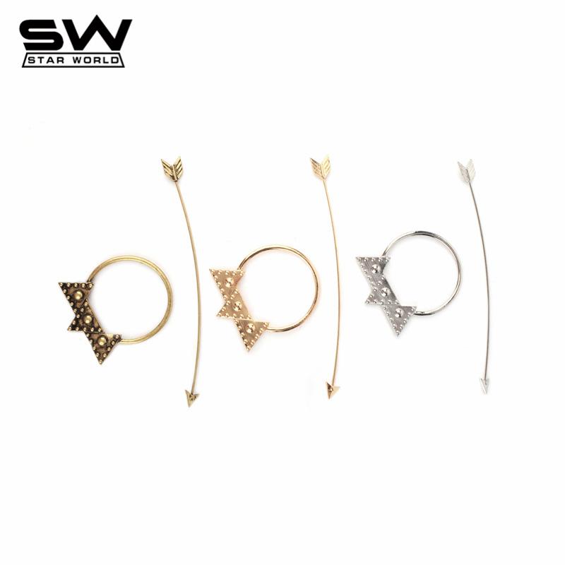 STARWORLD Gold&Silver&Bronze Vintage Bohemia Style Arrow&Stars Hairwear Beautiful Hair Jewelry for Women 2016 F003(China (Mainland))