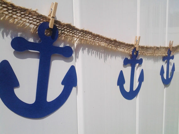 Under the sea burlap banner anchor birthday decor party for Anchor decoration for the home