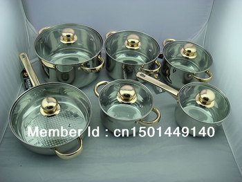 Sold in Europe for12 sets of super-luxury stainless steel cookware set regimen