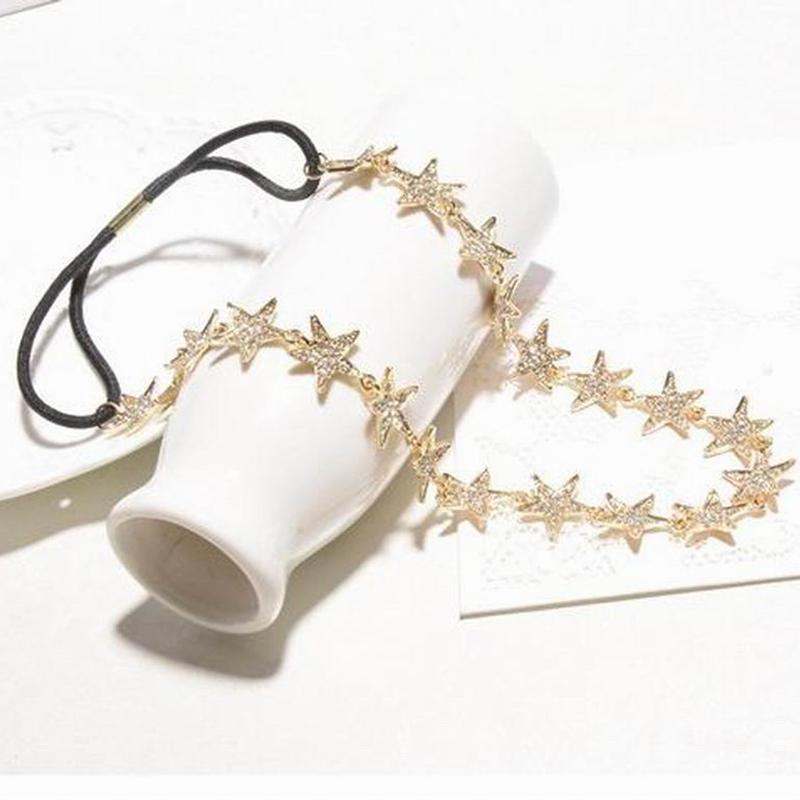 2016 New Fashion Star Crystal Hairbands Vintage Headbands Tiara Hair Accessories Head Chain Fashion Hair Jewelry GF2015464(China (Mainland))