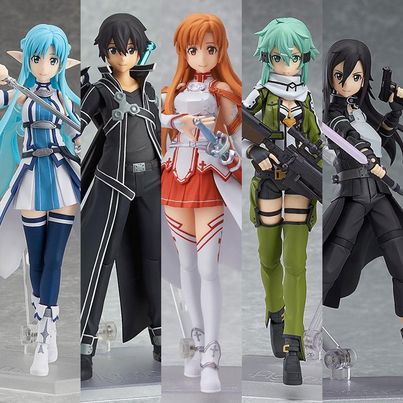 Anime SAO Sword Art Online Asuna Kirito Figma 178 PVC Action Figure Model Toy LOOSE - Club store
