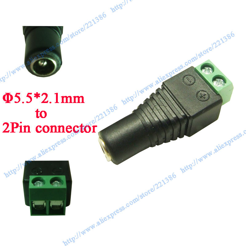 free shipping 100 pcs 5.5 X 2.1mm DC Power plug male Plug CCTV connectore LED strip connector(China (Mainland))