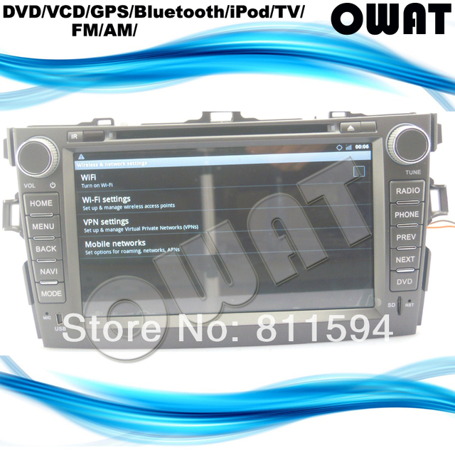 Pure Android 2.3.7 WIFI 3G 1GHz CPU 512Ram Toyota Corolla 2006-11 DVD GPS, Build-in 8G Nand-flash, Toyota Corolla GPS DVD Player