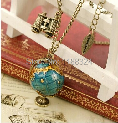 Fashion Vintage Jewelry Globe Telescope Alloy long Pendant & Necklace for Women 2015 Retro Sweater Accessories(China (Mainland))