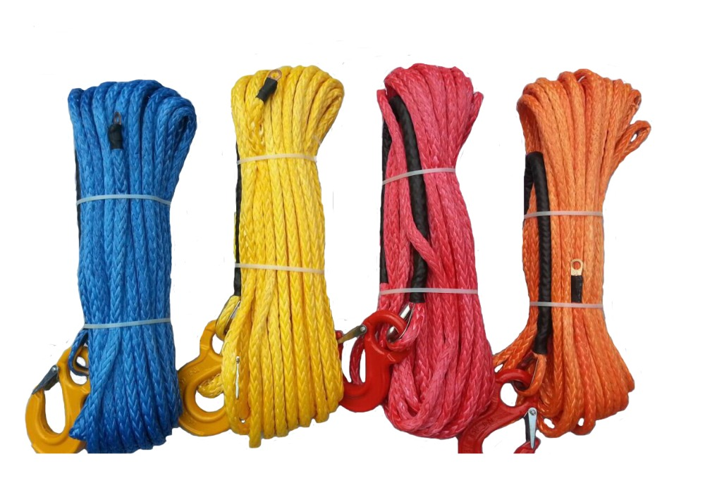 10mm x 30m Synthetic Winch Line / Rope With Hook Blue Yellow Red Orang color Free Shipping(China (Mainland))