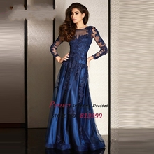 Navy Blue Vestidos De Fiesta 2016 Sheer O-neck Long Sleeves Evening Dresses Appliques Beads Formal Party Gown AR1040