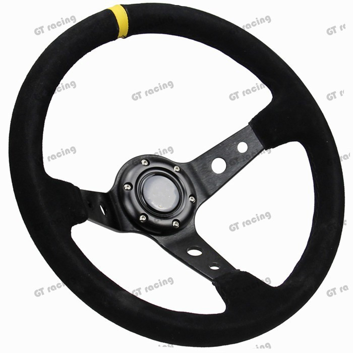 14inch 350mm omp style Deep Corn Drifting Steering Wheel / Suede Leather Steering wheels with logo(China (Mainland))
