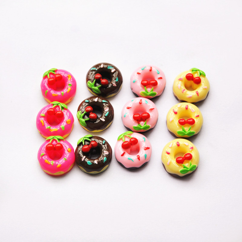 20pcs cherry donut DIY Miniature Artificial Fake Food Cake Resin Cabochon Scrapbooking Phone Case Decorative Craft(China (Mainland))