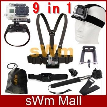 Gopro Accessories Set Chest Belt+Head Band+Wrist Strap+ Stick Selfie Monopod Go pro Hero 5 4 3 Hero4 Hero3 Xiaomi Yi Sj4000 Kit(China (Mainland))