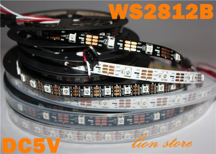 1m/5m WS2812B Smart led pixel strip,Black/White PCB,30/60/144 leds/m WS2812 IC;WS2812B/M 30/60/144 pixels,IP30/IP65/IP67 DC5V(China (Mainland))