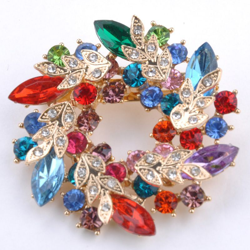 Fashion Clear Crystal Rhinestone Gold Plated Chinese Redbud Flower Brooch Pin Jewelry Women Brooches for Scarf #6(China (Mainland))