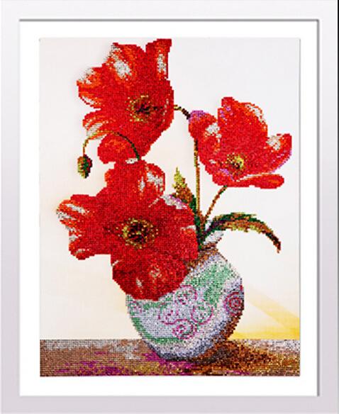 diy hobbies and crafts round diamond embroidery flowers cross-stitch painting rhinestones patchwork home decoration wedding room(China (Mainland))