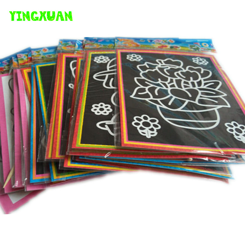 20pcs/lot 13*9.5cm Two-in-one Magic Color Scratch Art Paper Coloring Cards Scraping Drawing Toys for Children(China (Mainland))